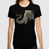 Elephant Cyril And Hummingbird Ayre Womens Fitted Tee Black SMALL