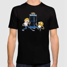 Finn and Jake's Excellent Adventure through Time SMALL Black Mens Fitted Tee