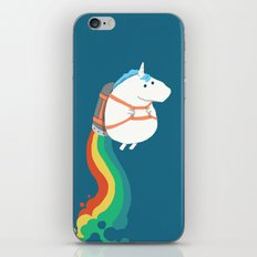 Fat Unicorn on Rainbow Jetpack iPhone & iPod Skin