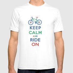 Keep Calm and Ride On Mens Fitted Tee SMALL White