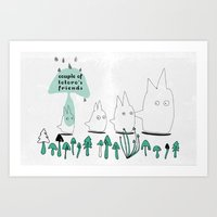 Couple of TOTORO's Friends Art Print