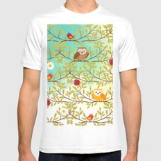 Autumn birds SMALL White Mens Fitted Tee