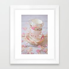 Shabby Chic Vintage Cups in Pink Framed Art Print