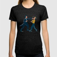 Abe Lincoln VS Captain Kirk Womens Fitted Tee Tri-Black SMALL