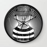 Fisher Man B/W Wall Clock