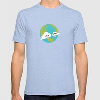 Earth Mens Fitted Tee Tri-Blue SMALL