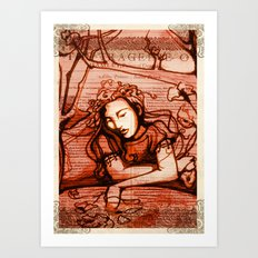 Romantic Ophelia - Hamlet - Shakespeare Illustration Art Print
