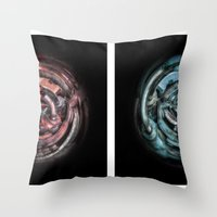 The caterpillar machinery red and cyan brothers Throw Pillow