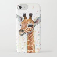 giraffe iPhone & iPod Cases featuring Giraffe Baby by Olechka
