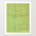 YELLOW HERRINGBONE Art Print
