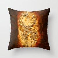 Henna Giraffe Throw Pillow