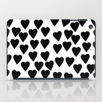 Hearts Black and White iPad Case