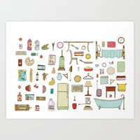 Groceries and Domestic Shit Art Print