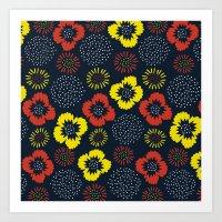 Blooming Wild (red & Yel… Art Print