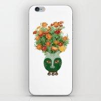 Marigolds in cat face vase  iPhone & iPod Skin