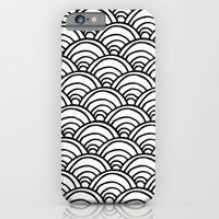 iPhone & iPod Case featuring Waves All Over - Black and White by Project M
