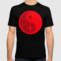 Blue stripes on grunge textured red background Mens Fitted Tee Black SMALL