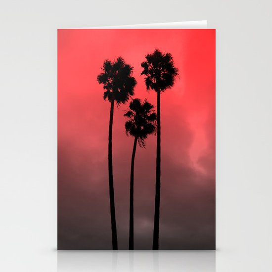 Red Fade Palm Trees Stationery Card