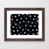 Snowflakes (Blue & White on Black) Framed Art Print