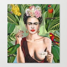 Frida con amigos Canvas Print