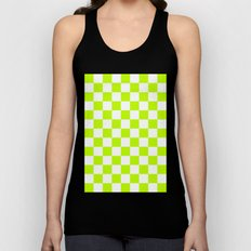 Checker (Lime/White) Unisex Tank Top