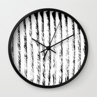 Wall Clock featuring Black Textured Lines On … by LacyDermy