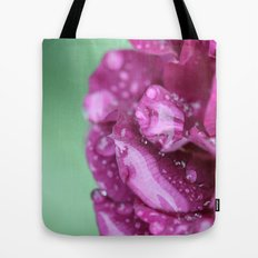Flower with rain drops Tote Bag