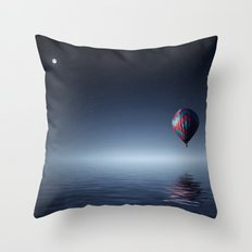 Hot Air Balloon Over Water Throw Pillow