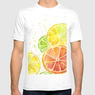 Fruit Watercolor Mens Fitted Tee White SMALL