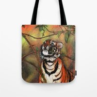 Baby Tiger Is Playing Tote Bag