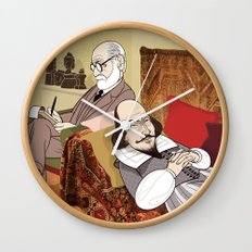 Freud analysing Shakespeare Wall Clock
