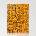Houses - orange Stationery Cards