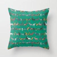 Peacock Green Spice Deer Throw Pillow