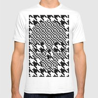 HOUNDSTOOTH SKULL #3 Mens Fitted Tee White SMALL