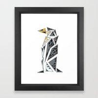 Geometric penguin - dark grey Framed Art Print