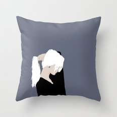 White Hair Beauty Throw Pillow