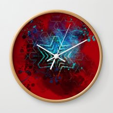 Glowing abstract blue star on blood red Wall Clock