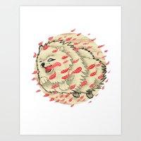 Pomeranian In Autumn Art Print