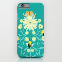 iPhone & iPod Case featuring Bees, birds and flowers by Caracheng