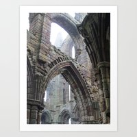 Whitby Abbey in Fog #2 Art Print