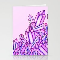 Pink purple watercolor paint crystals gem pattern Stationery Cards