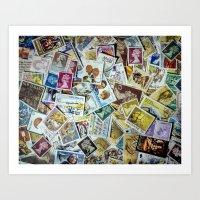 Postage Stamps Art Print