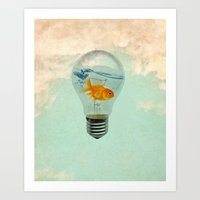 goldfish thinking Art Print