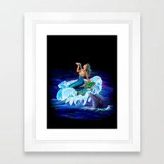 Mermaid with Dolphin Framed Art Print