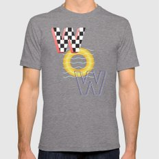 WOW Mens Fitted Tee Tri-Grey SMALL