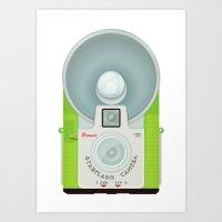 VINTAGE CAMERA GREEN Art Print
