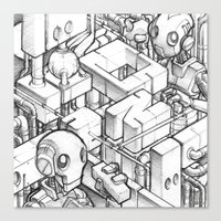 Robots playing sketch Canvas Print