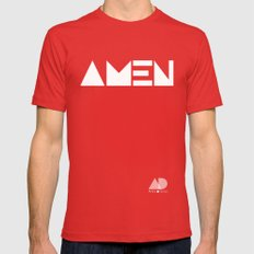 AMEN Mens Fitted Tee Red SMALL