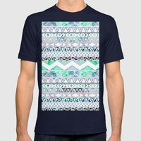 Teal Girly Floral White Abstract Aztec Pattern Mens Fitted Tee Navy SMALL