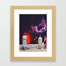 VOLCANO AT NIGHT Framed Art Print